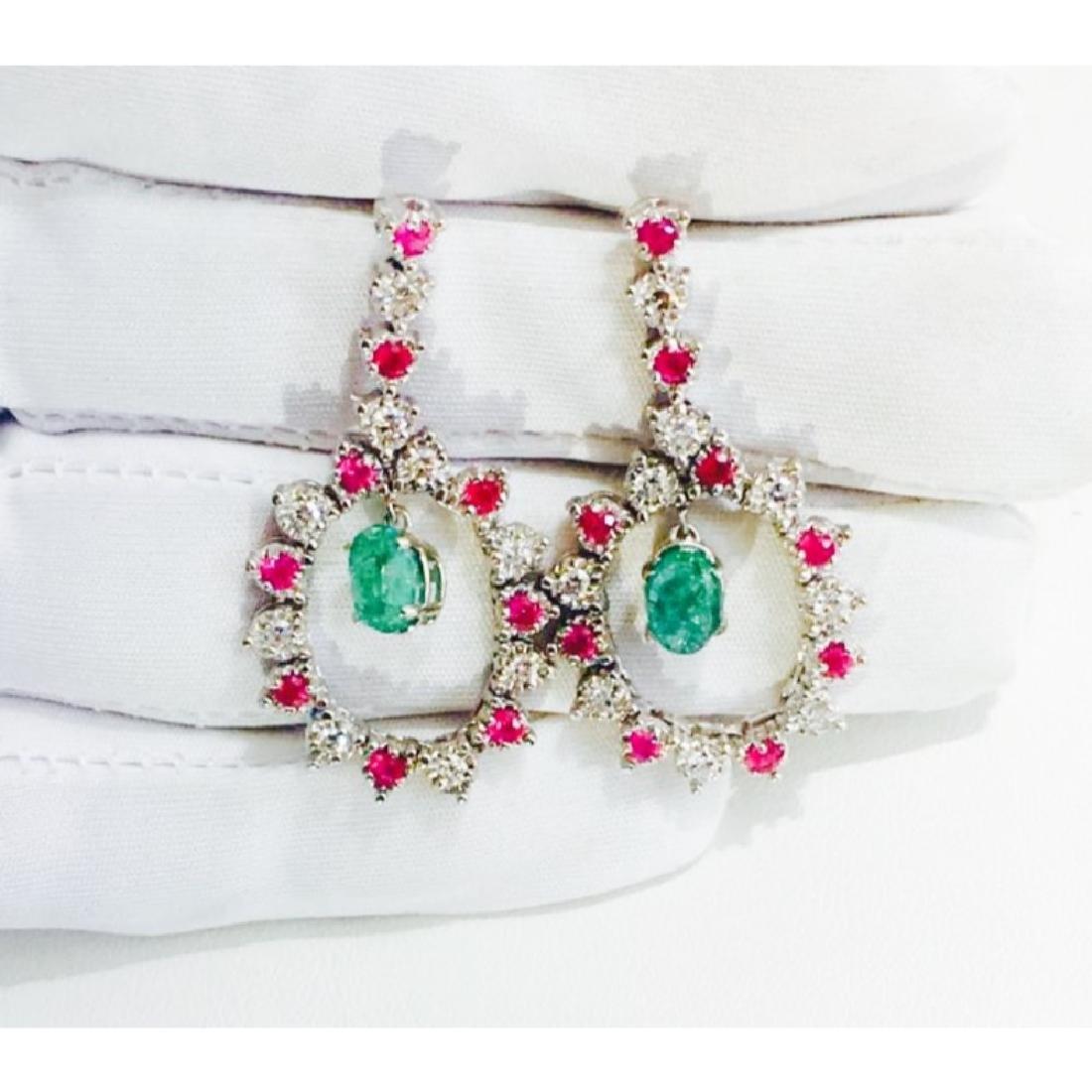 14K; Super Burma Ruby, Emerald & VS-F Diamond earrings - 3