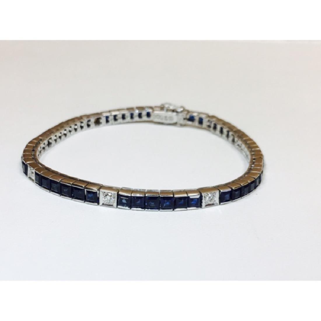 18K, 4.00 Carat Blue Sapphire and Diamond Bracelet - 2