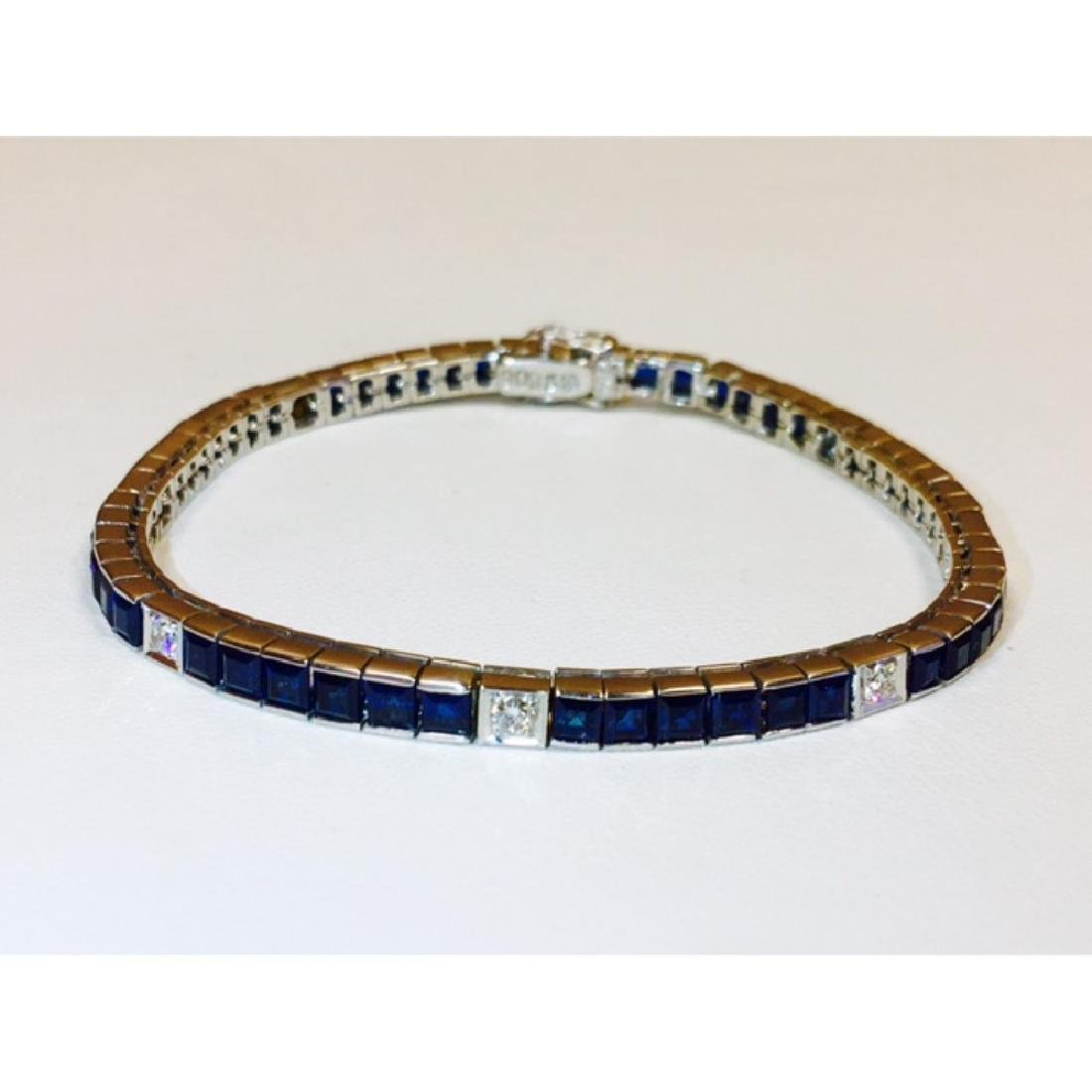 18K, 4.00 Carat Blue Sapphire and Diamond Bracelet - 3