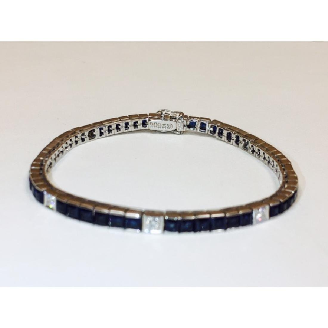 18K, 4.00 Carat Blue Sapphire and Diamond Bracelet - 4