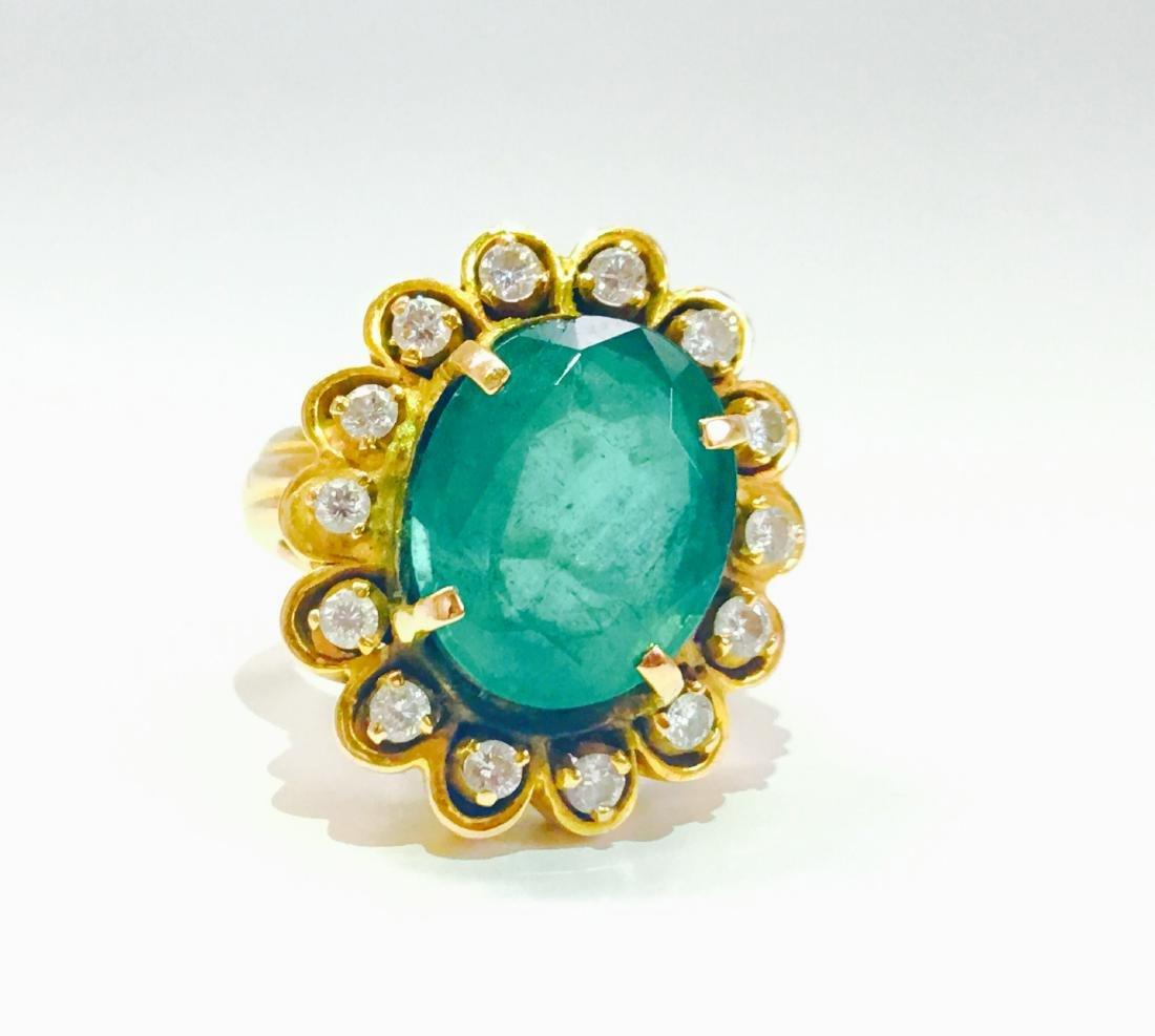 Vintage 18K, 5.50 CT Emerald & VS Clarity Diamond Ring