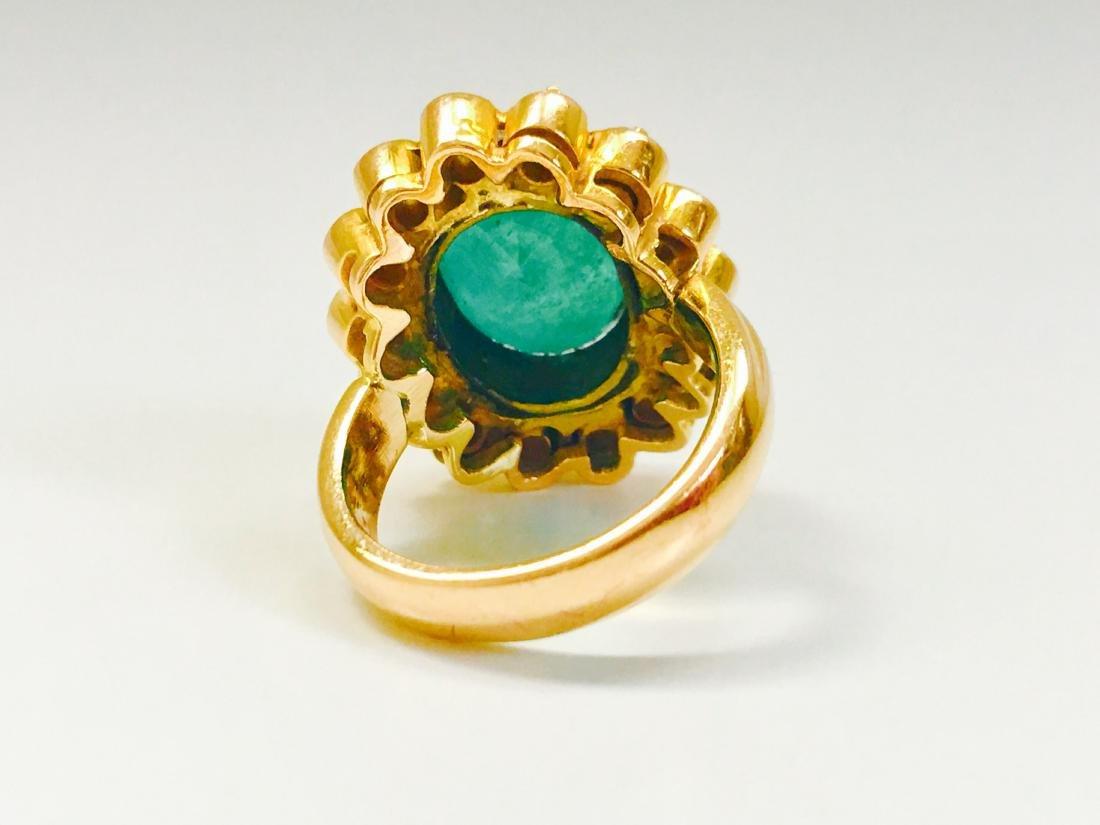 Vintage 18K, 5.50 CT Emerald & VS Clarity Diamond Ring - 5