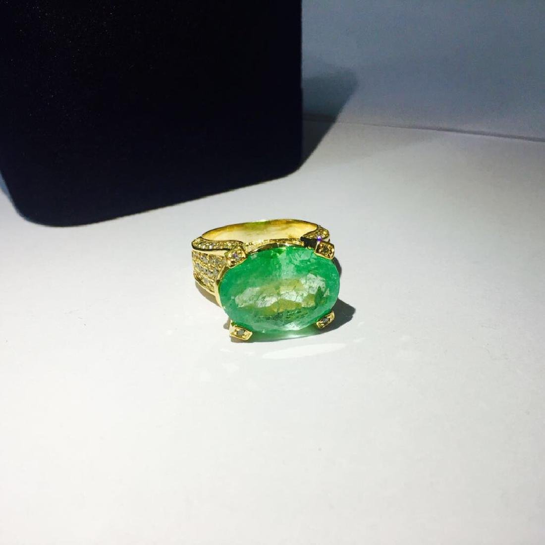 14K, 11.50 Carat Colombian Emerald and Diamond Ring
