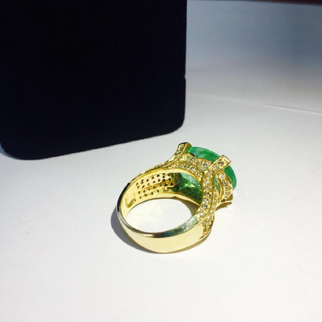 14K, 11.50 Carat Colombian Emerald and Diamond Ring - 3
