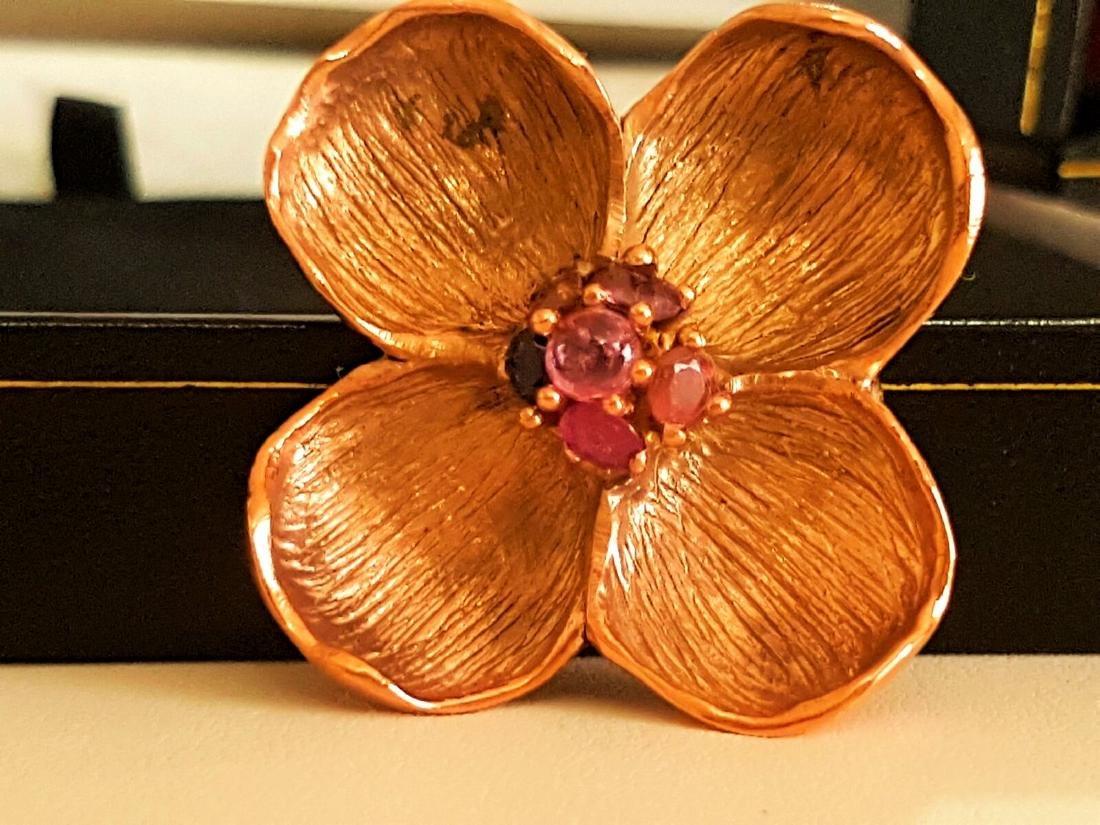 Rose Gold and Multi Colored Sapphire Pendant