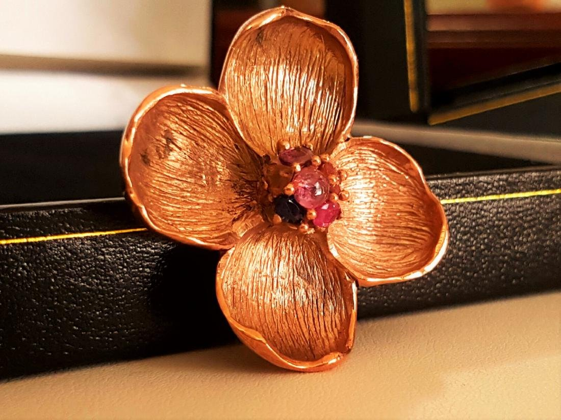 Rose Gold and Multi Colored Sapphire Pendant - 2