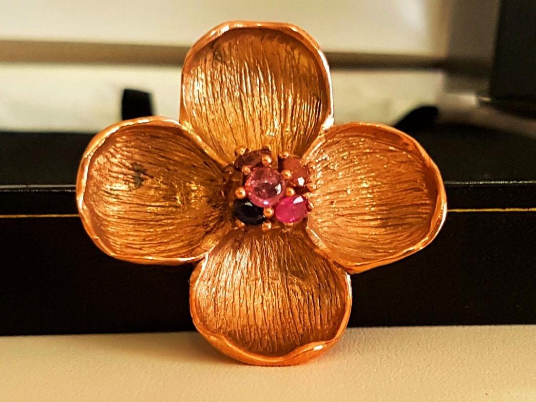 Rose Gold and Multi Colored Sapphire Pendant - 4