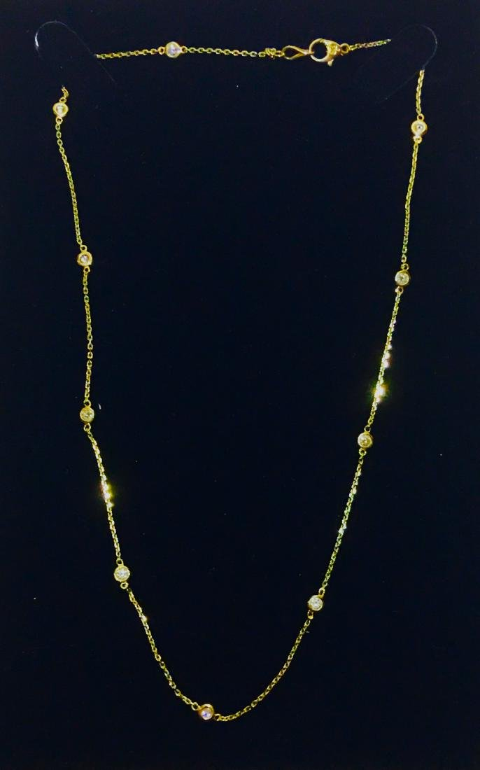 14K yellow gold, VS clarity & F color Diamond Necklace