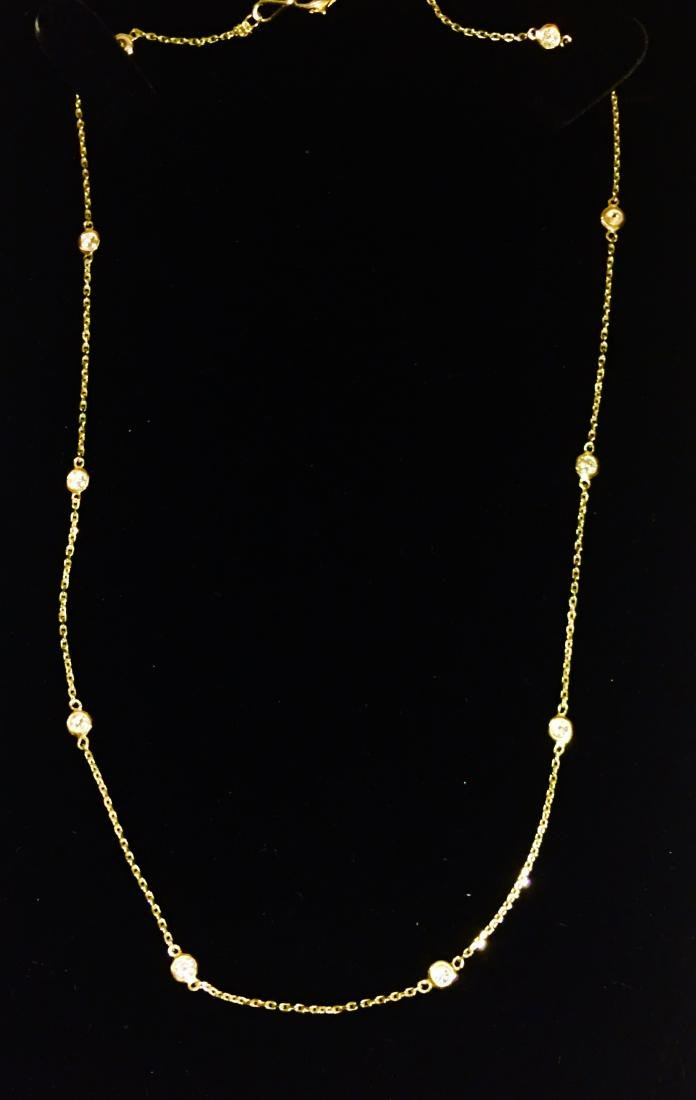 14K yellow gold, VS clarity & F color Diamond Necklace - 2