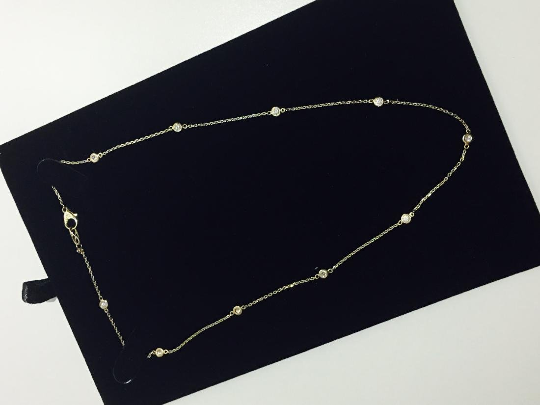 14K yellow gold, VS clarity & F color Diamond Necklace - 3