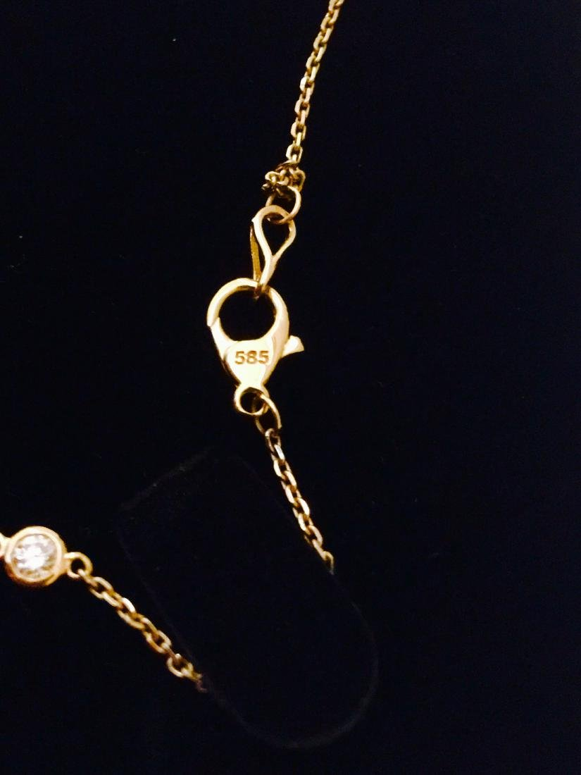 14K yellow gold, VS clarity & F color Diamond Necklace - 4