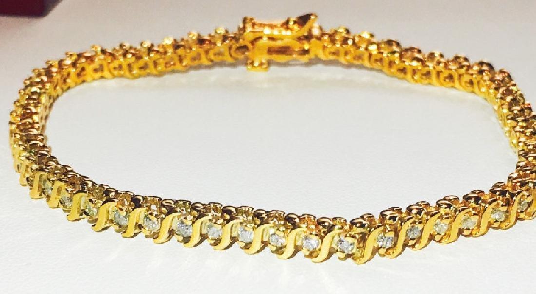 14K Yellow Gold, 1.00 ct Diamond Bracelet