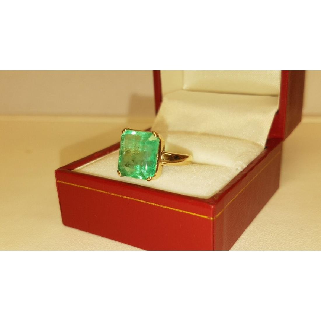 14K Yellow Gold, 6.00 Carat Solitaire Emerald Ring - 2