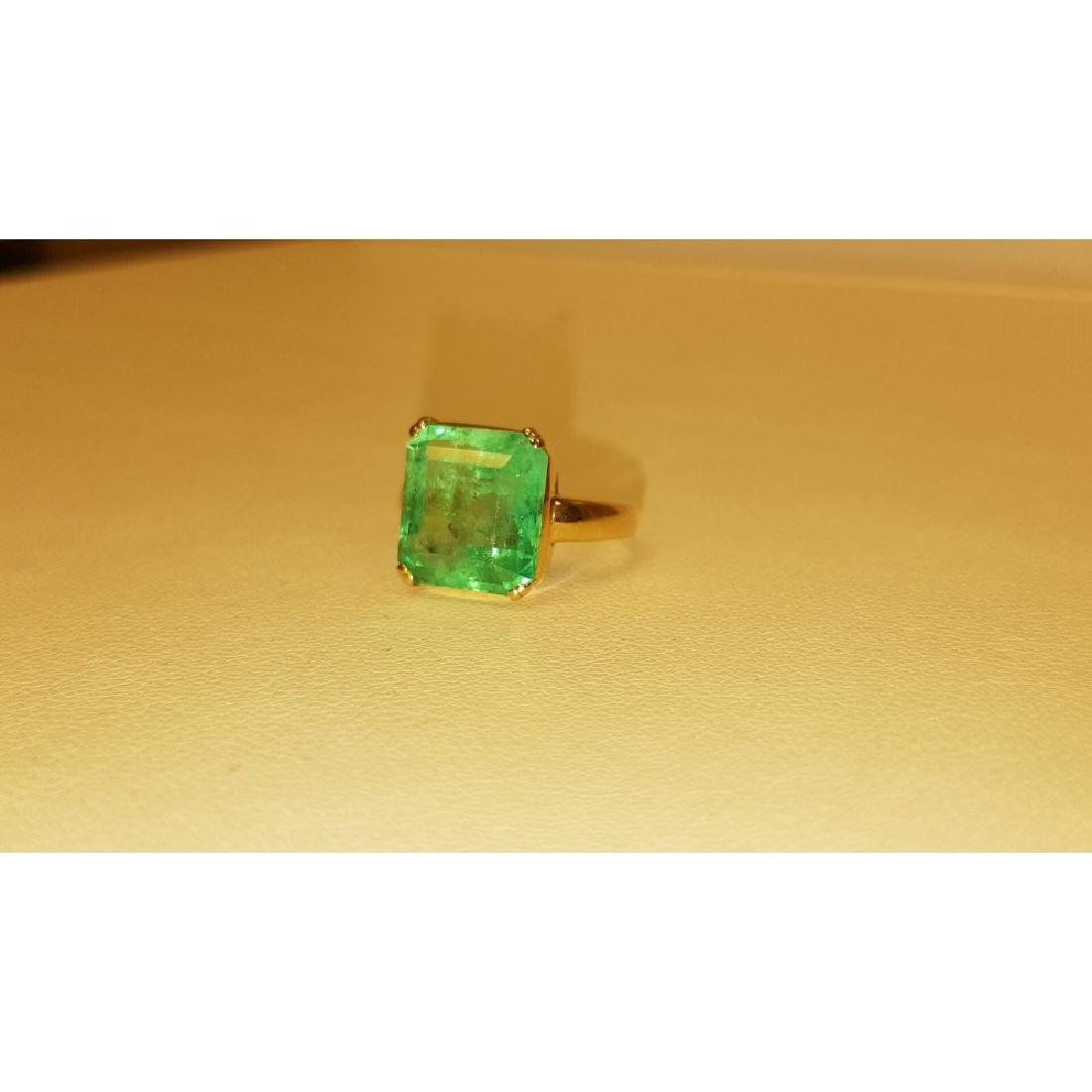 14K Yellow Gold, 6.00 Carat Solitaire Emerald Ring - 4