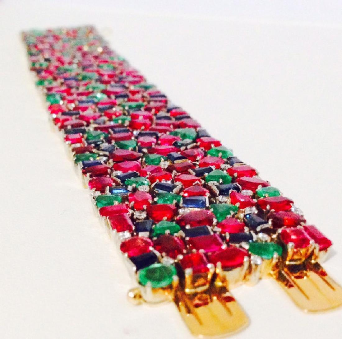 18K Gold - Burma Ruby, Blue Sapphire, Emerald Bracelet - 4