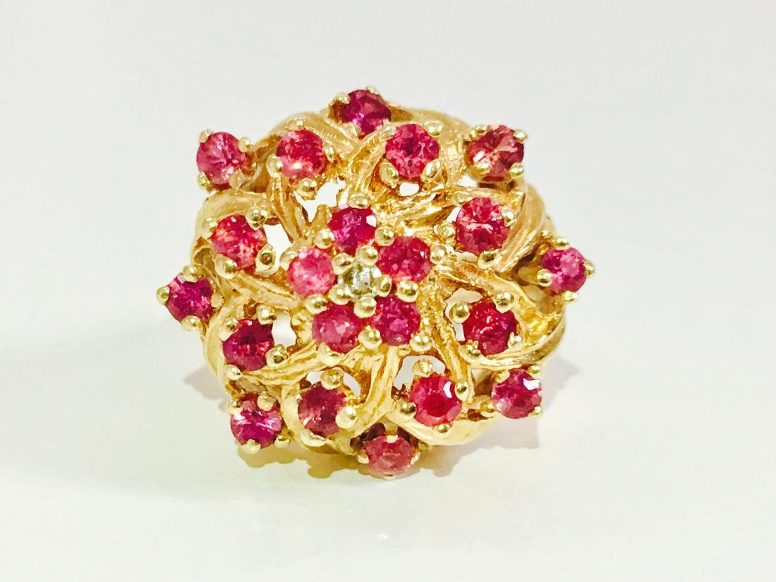 14K Gold RUBY and Diamond VINTAGE RING