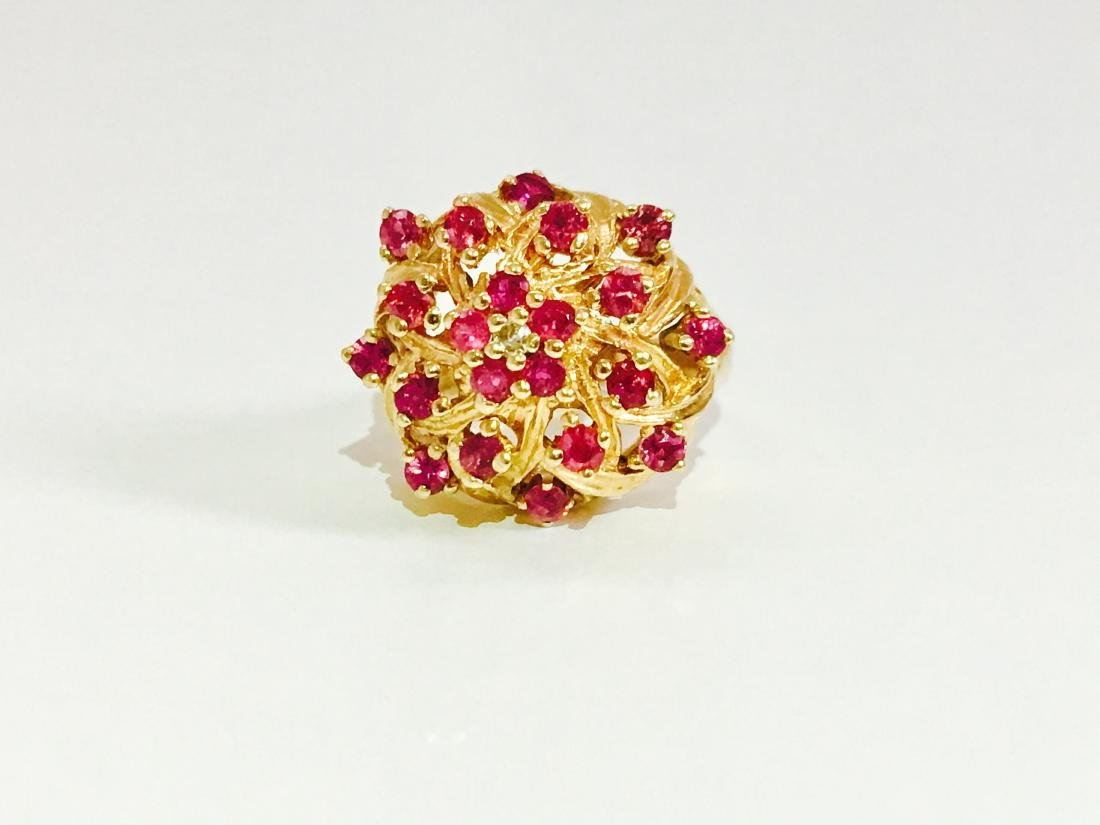 14K Gold RUBY and Diamond VINTAGE RING - 2