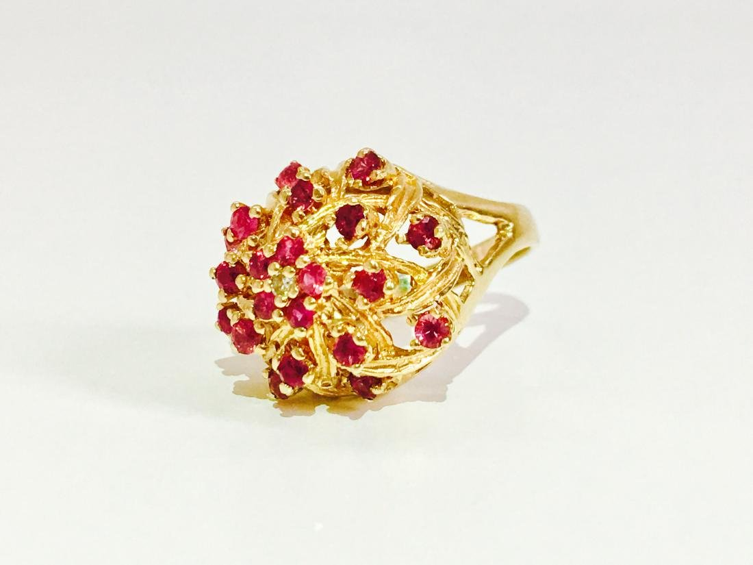 14K Gold RUBY and Diamond VINTAGE RING - 3