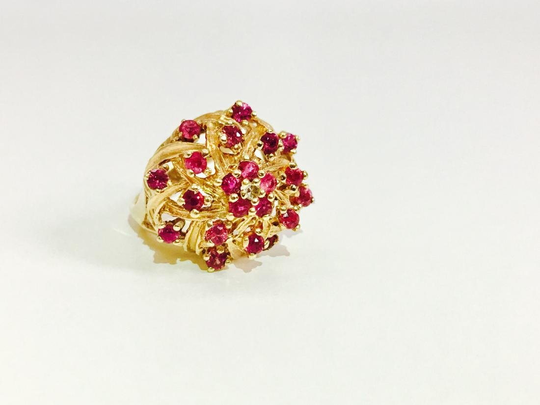14K Gold RUBY and Diamond VINTAGE RING - 4