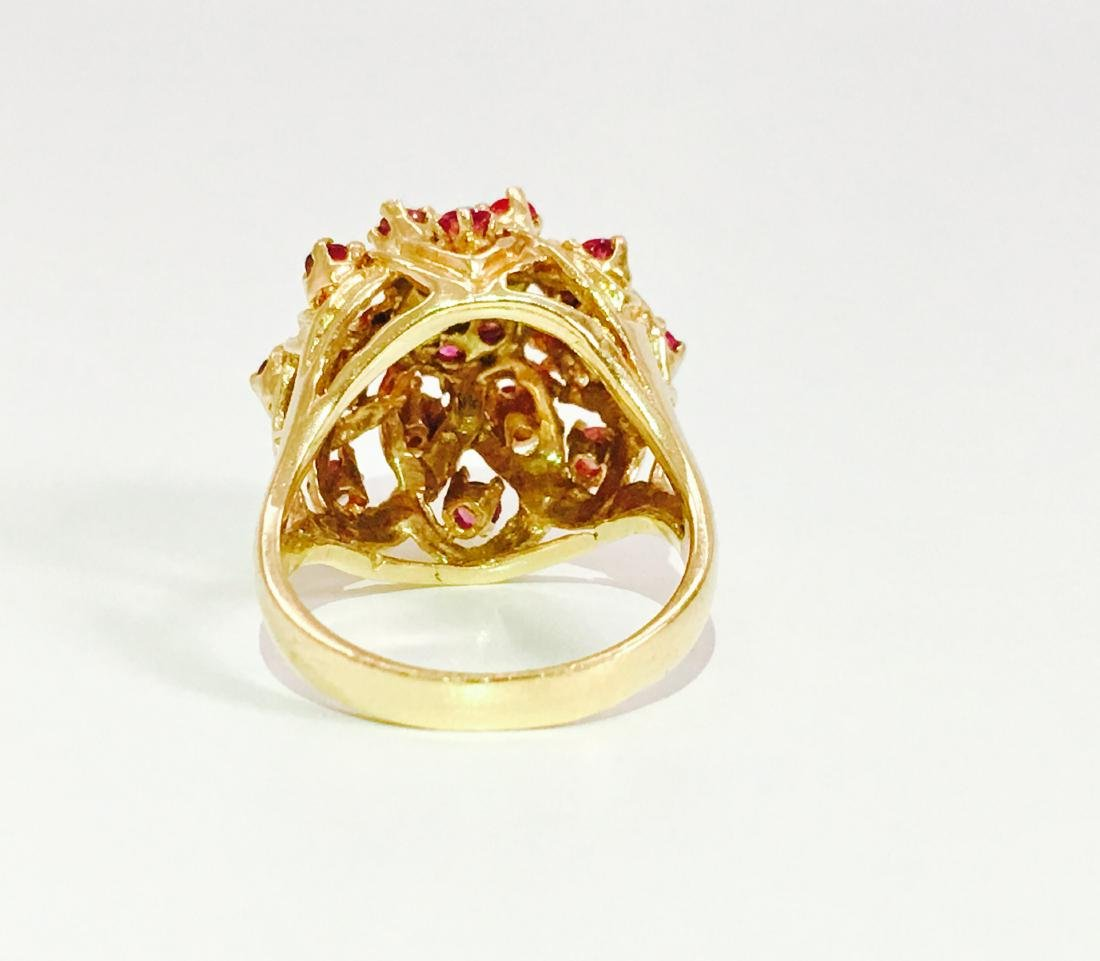 14K Gold RUBY and Diamond VINTAGE RING - 6