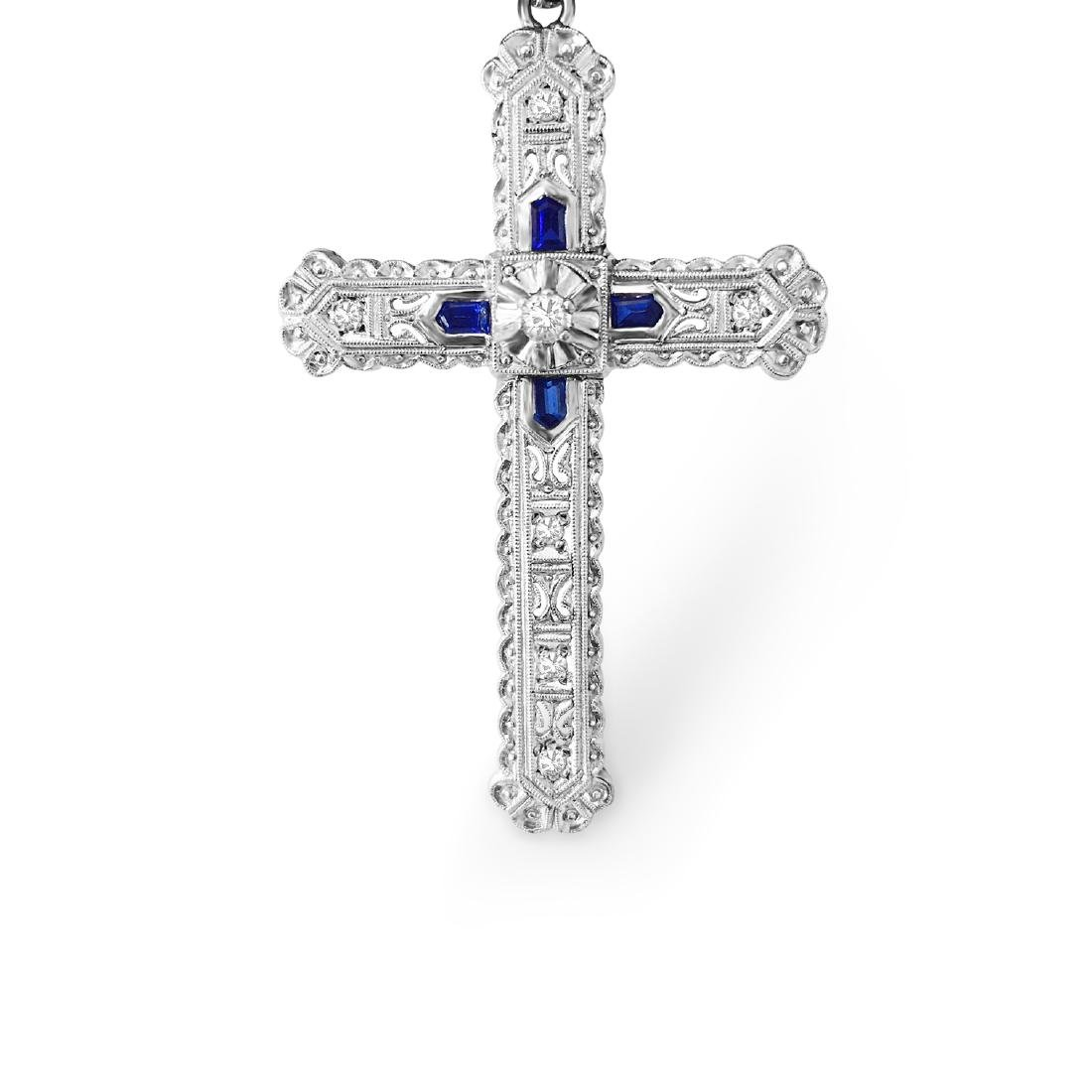 18K Gold, Blue Sapphire and Diamond Cross (Vintage)