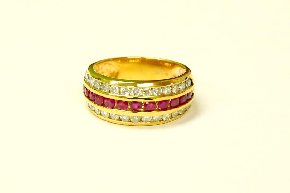 14k Yellow Gold, 2.25ct Diamond and Burma Ruby Ring.