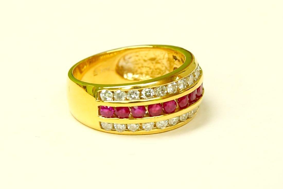 14k Yellow Gold, 2.25ct Diamond and Burma Ruby Ring. - 2