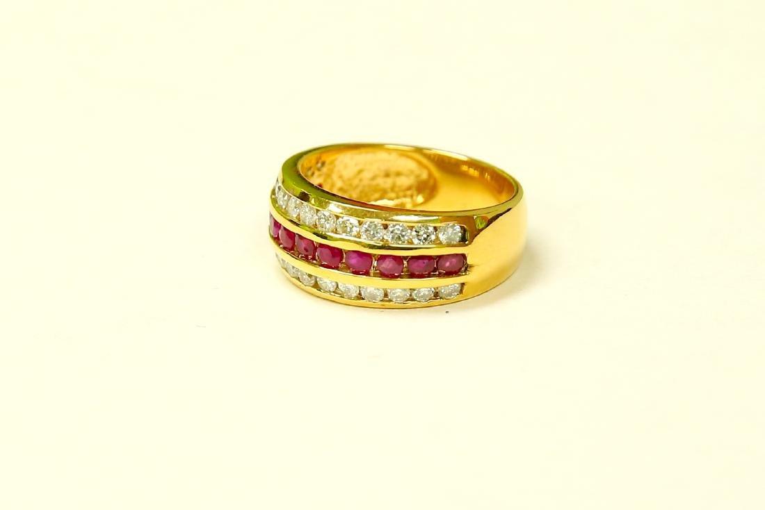 14k Yellow Gold, 2.25ct Diamond and Burma Ruby Ring. - 3