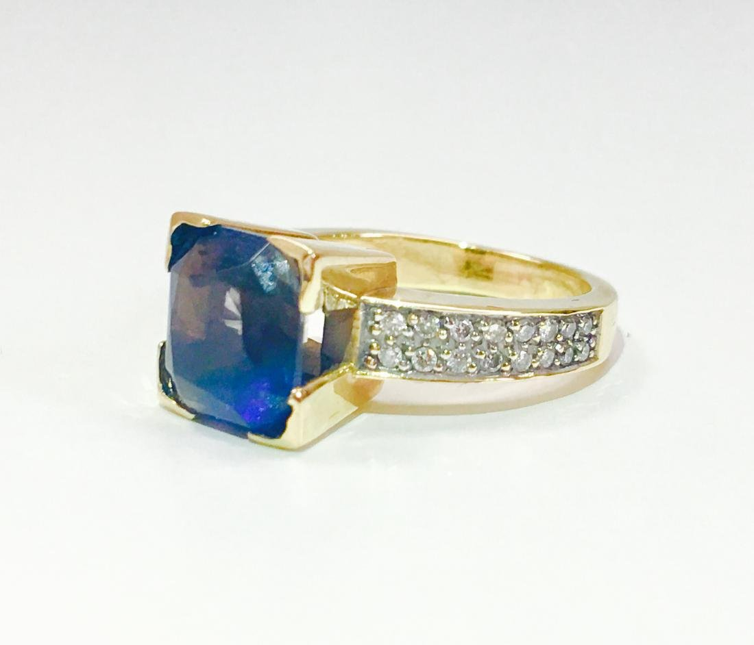 14K Blue Sapphire And ROUND BRILLIANT CUT DIAMOND RING - 3