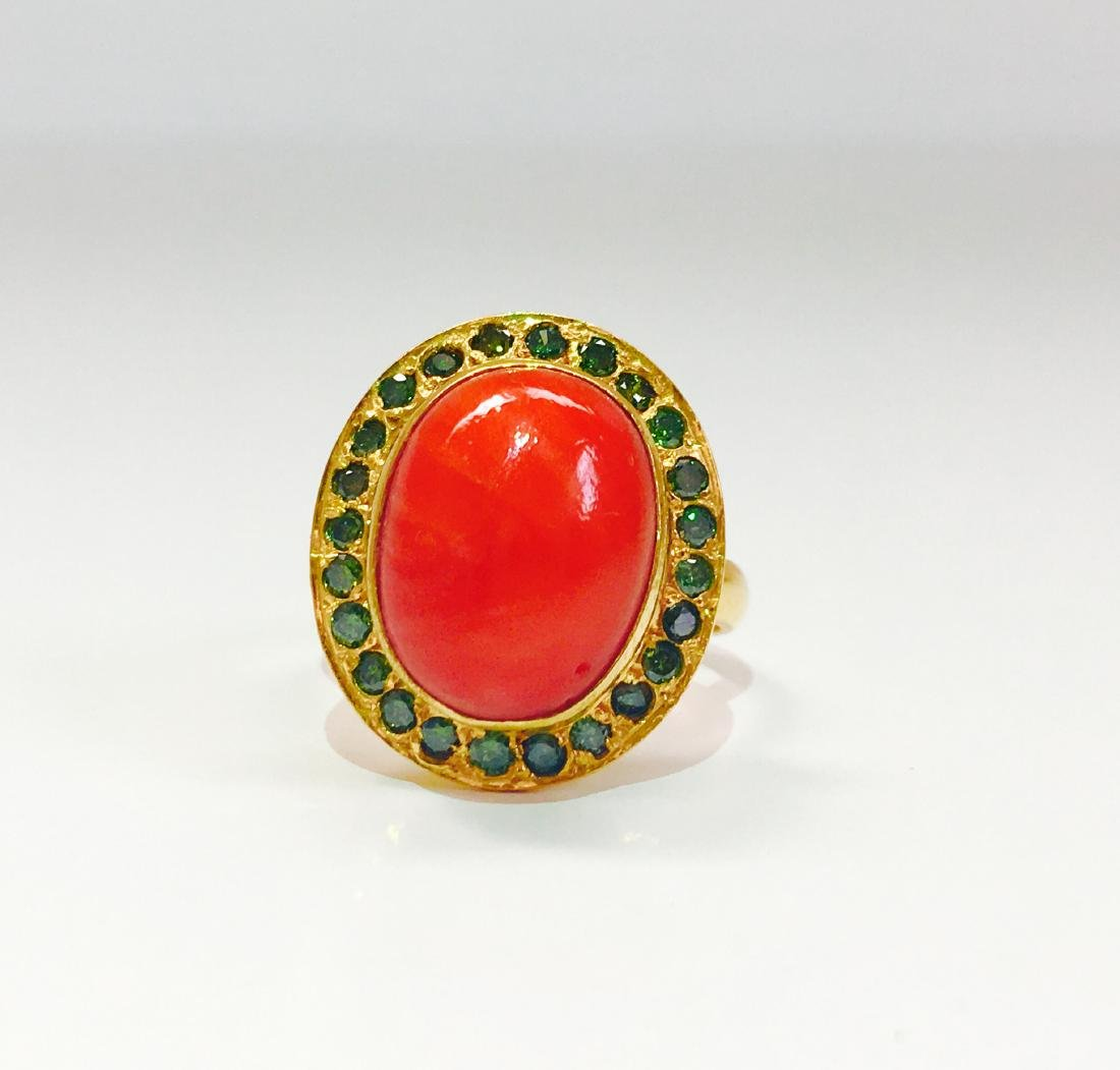 21K Gold Fancy Green Diamond And Coral Ring