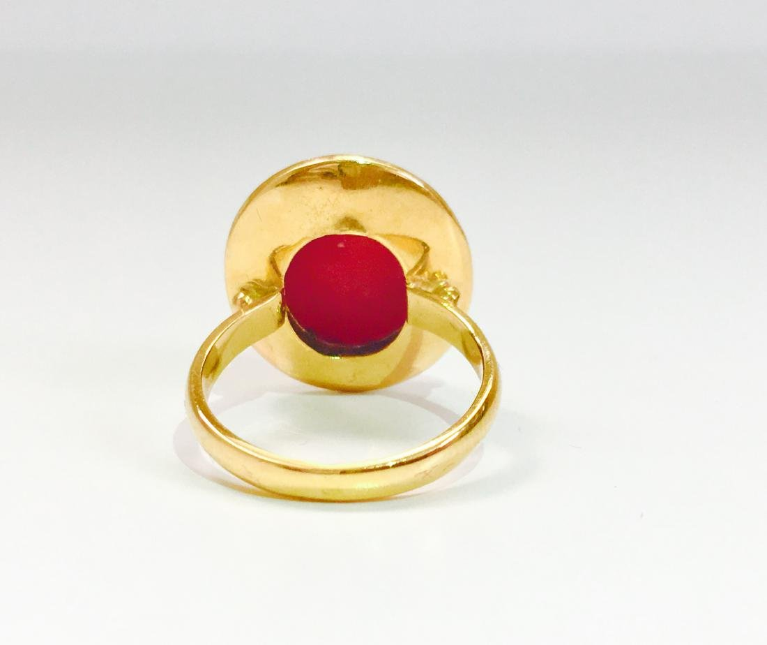 21K Gold Fancy Green Diamond And Coral Ring - 4