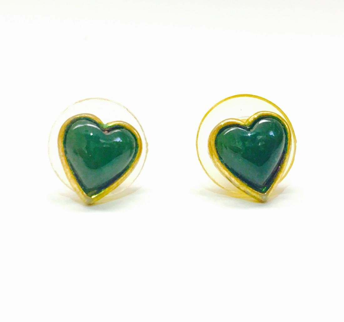 14k yellow gold, Jade heart earring/studs