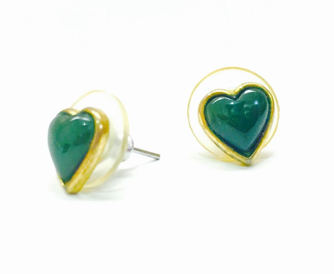 14k yellow gold, Jade heart earring/studs - 2