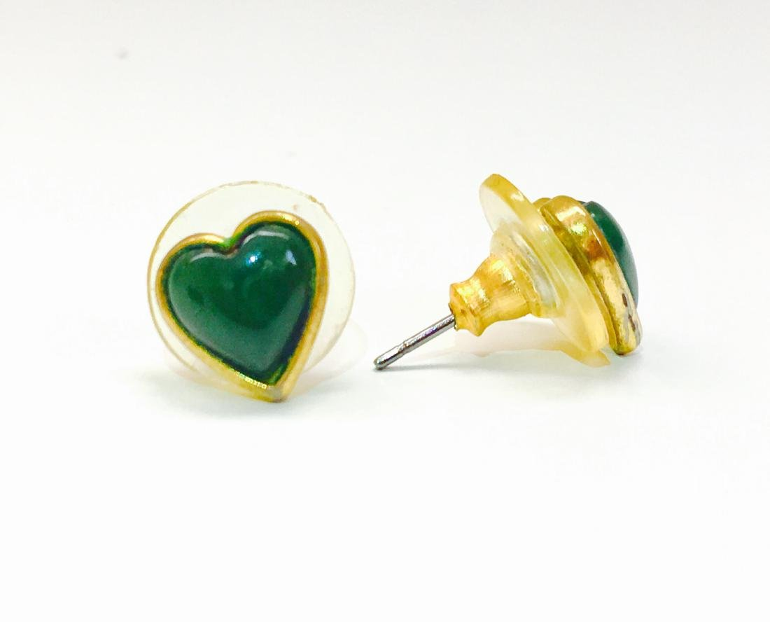 14k yellow gold, Jade heart earring/studs - 3