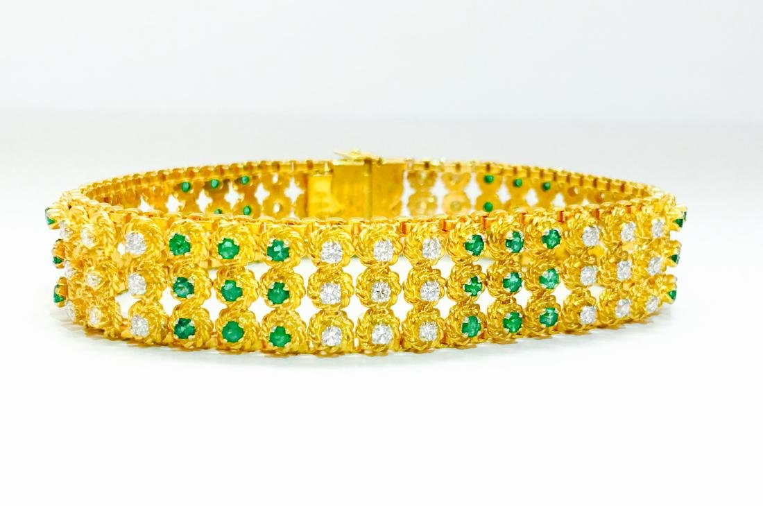 18k Yellow Gold Colombian Emerald And Diamond Bracelet