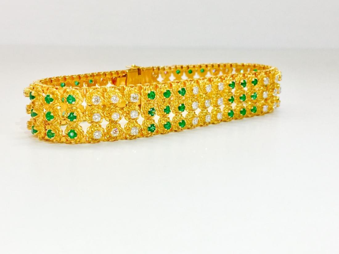 18k Yellow Gold Colombian Emerald And Diamond Bracelet - 2