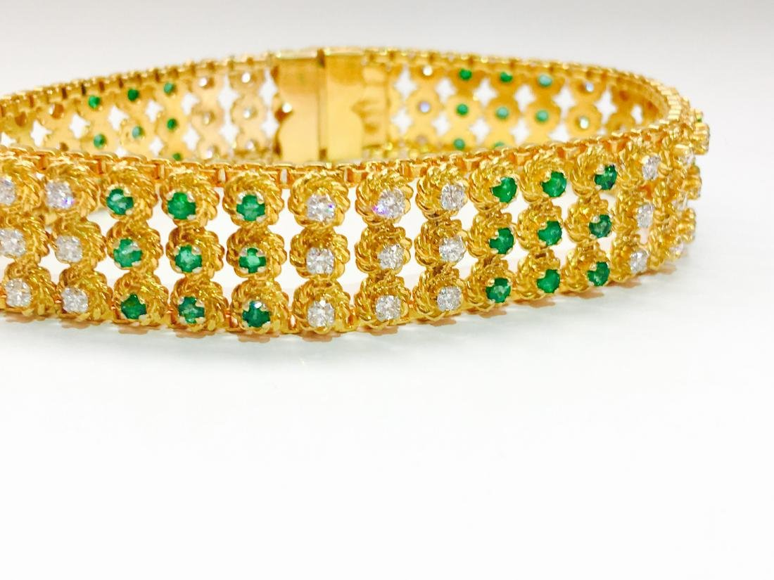 18k Yellow Gold Colombian Emerald And Diamond Bracelet - 3