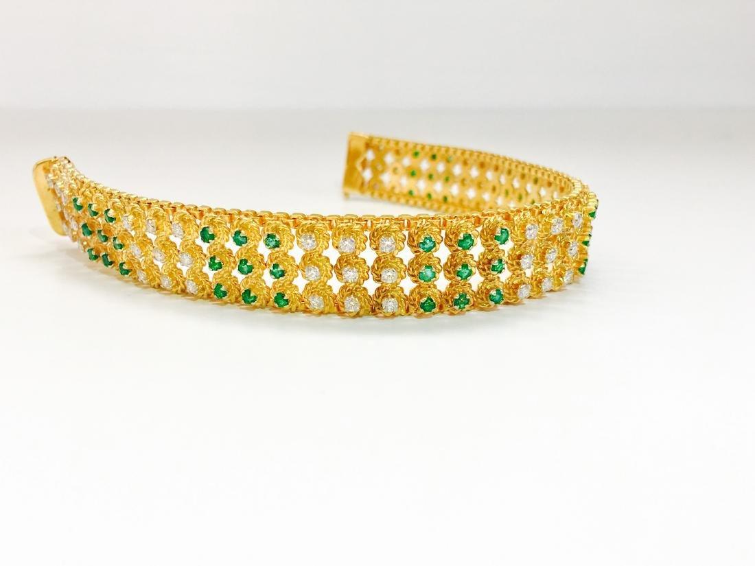 18k Yellow Gold Colombian Emerald And Diamond Bracelet - 4