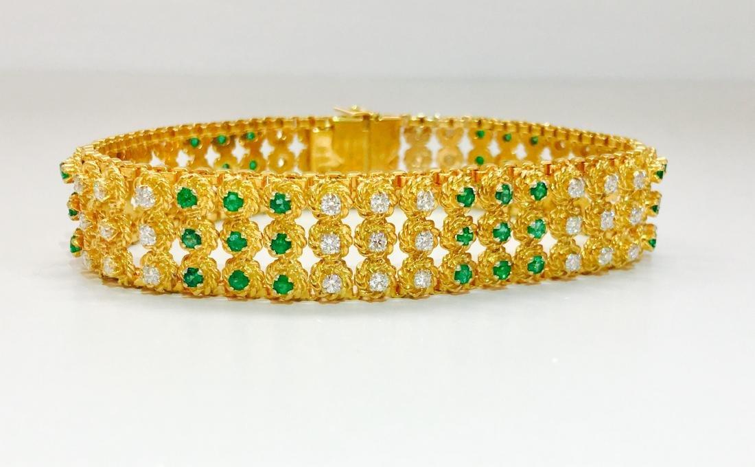 18k Yellow Gold Colombian Emerald And Diamond Bracelet - 6