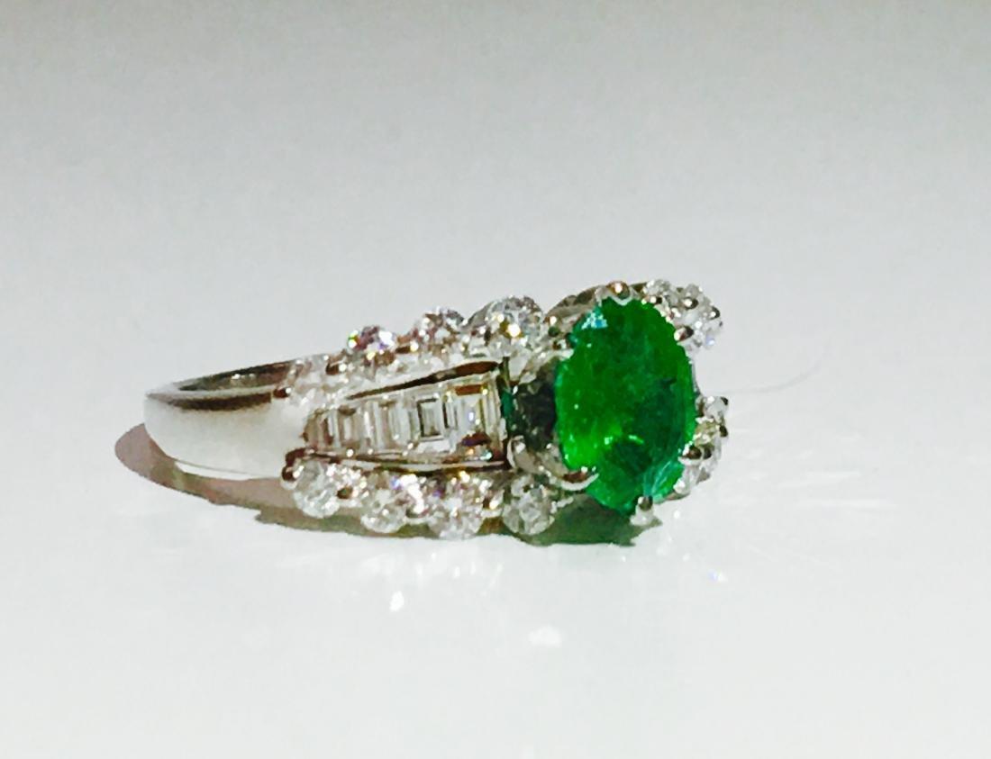 14K white gold, Emerald and VS diamond Ring - 3
