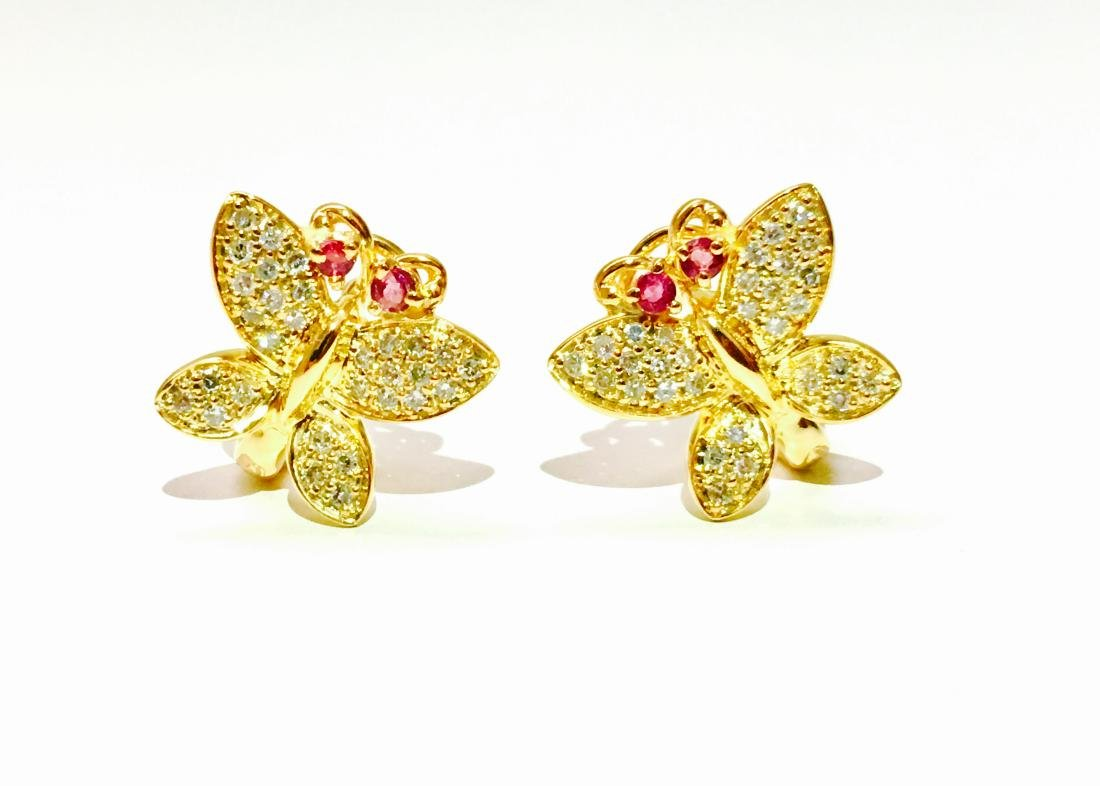 14K gold, 1.00 CT diamond and Ruby Butterfly Earrings