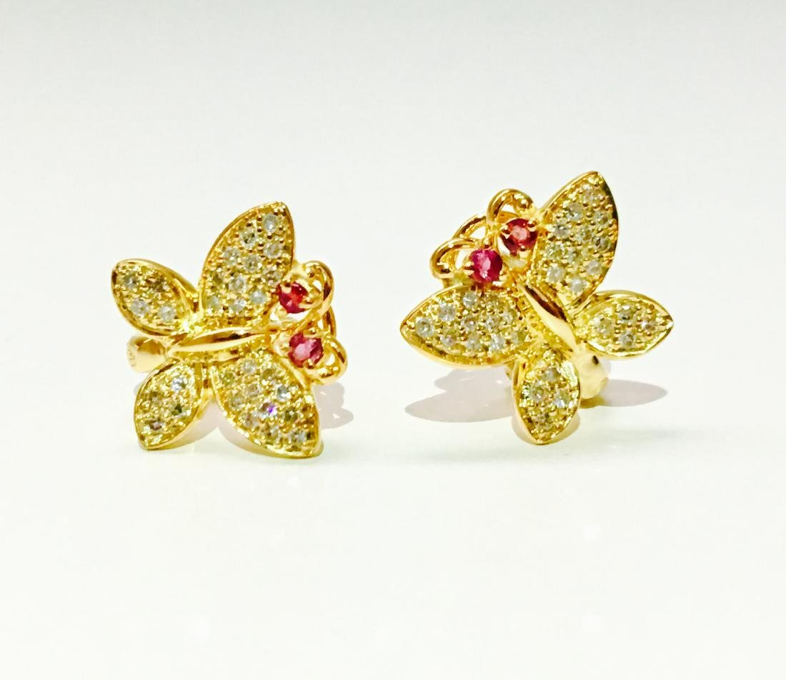 14K gold, 1.00 CT diamond and Ruby Butterfly Earrings - 2