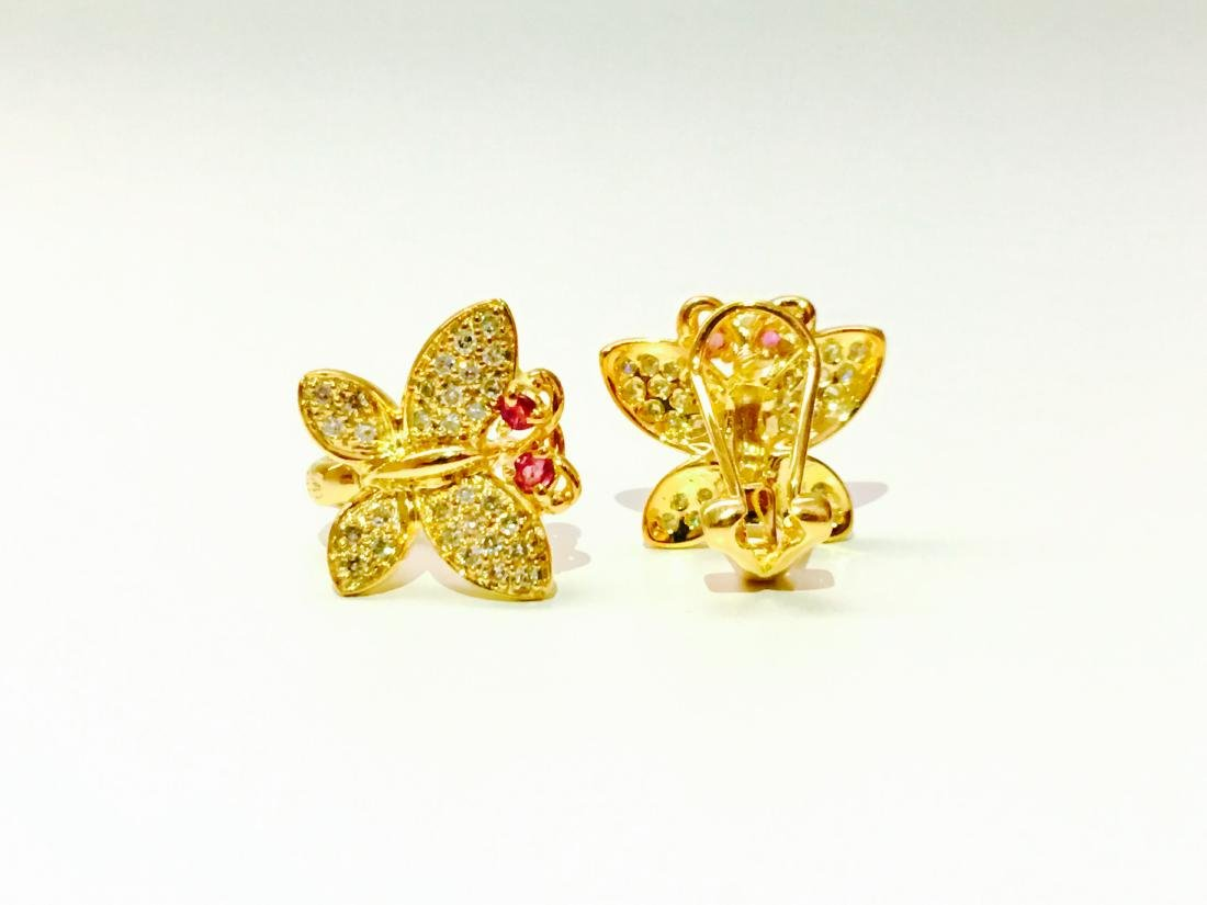 14K gold, 1.00 CT diamond and Ruby Butterfly Earrings - 3