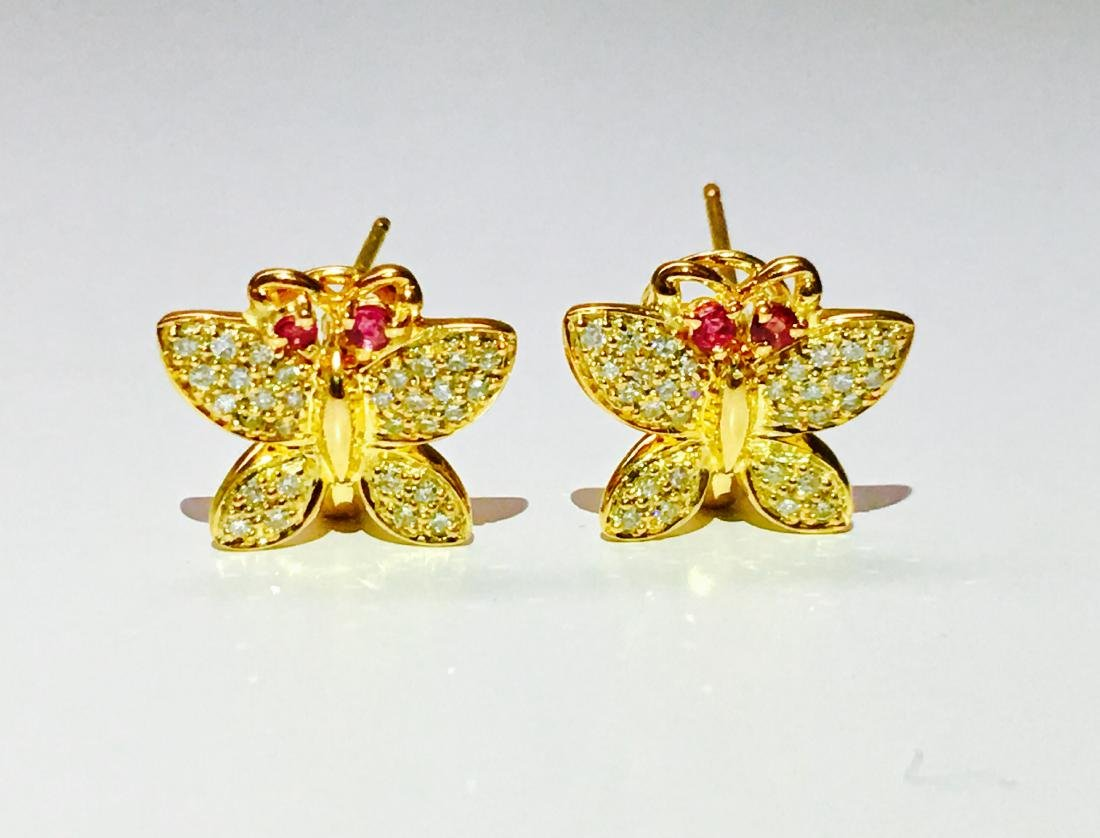 14K gold, 1.00 CT diamond and Ruby Butterfly Earrings - 4