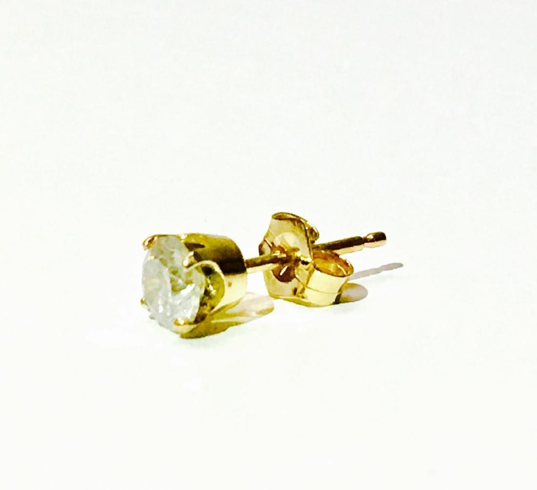 14K yellow gold and 0.45 carat diamond stud - 2