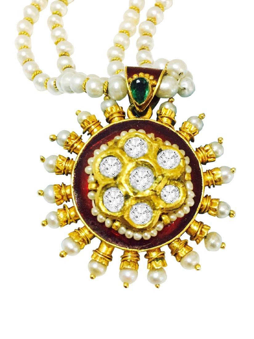 22k Gold Natural Basra Pearl DIAMOND Emerald Necklace.