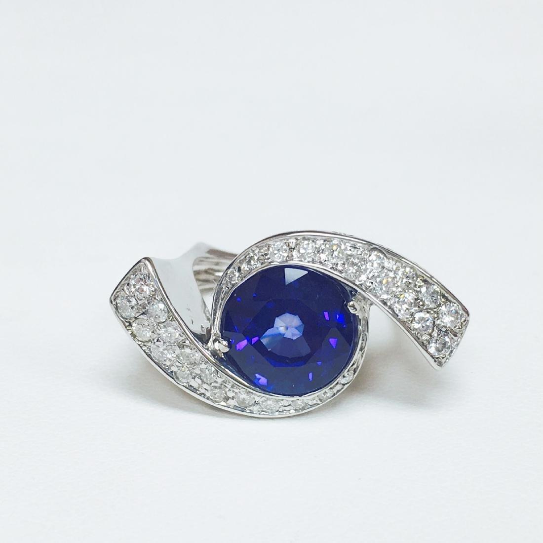 6.00 Carat Blue Sapphire & DIAMOND EVIL EYE STYLE RING