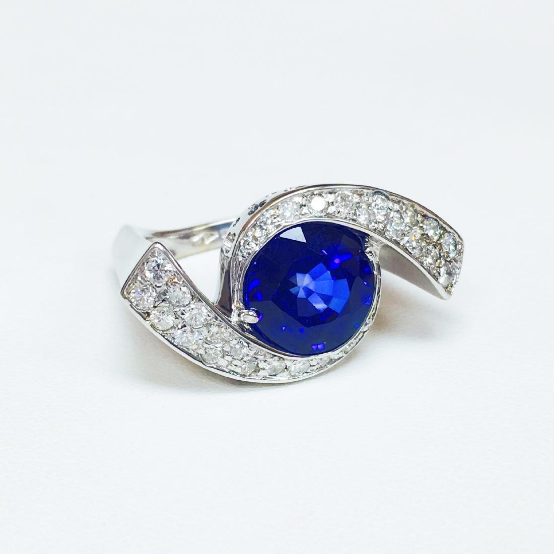 6.00 Carat Blue Sapphire & DIAMOND EVIL EYE STYLE RING - 2