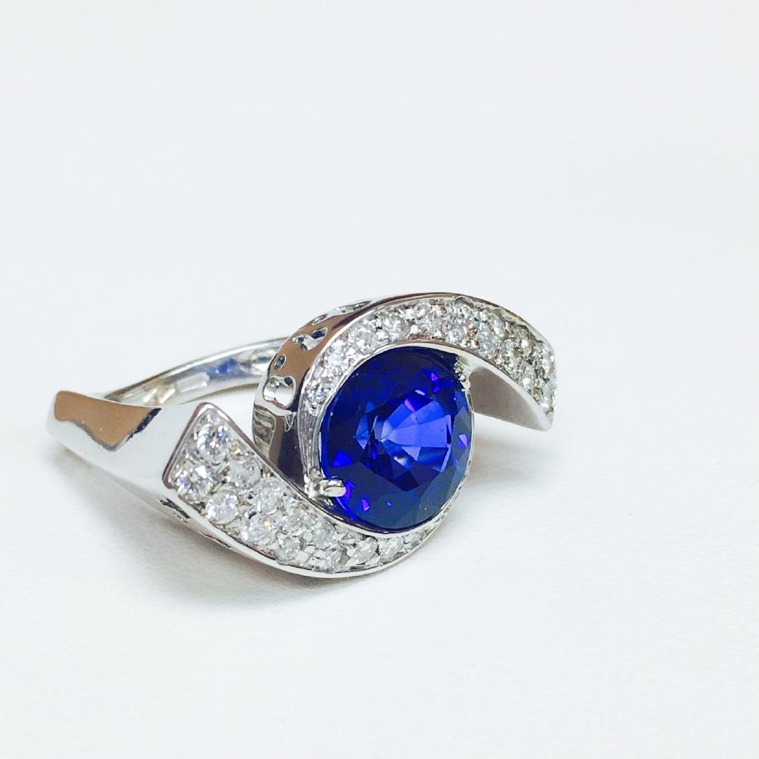 6.00 Carat Blue Sapphire & DIAMOND EVIL EYE STYLE RING - 3