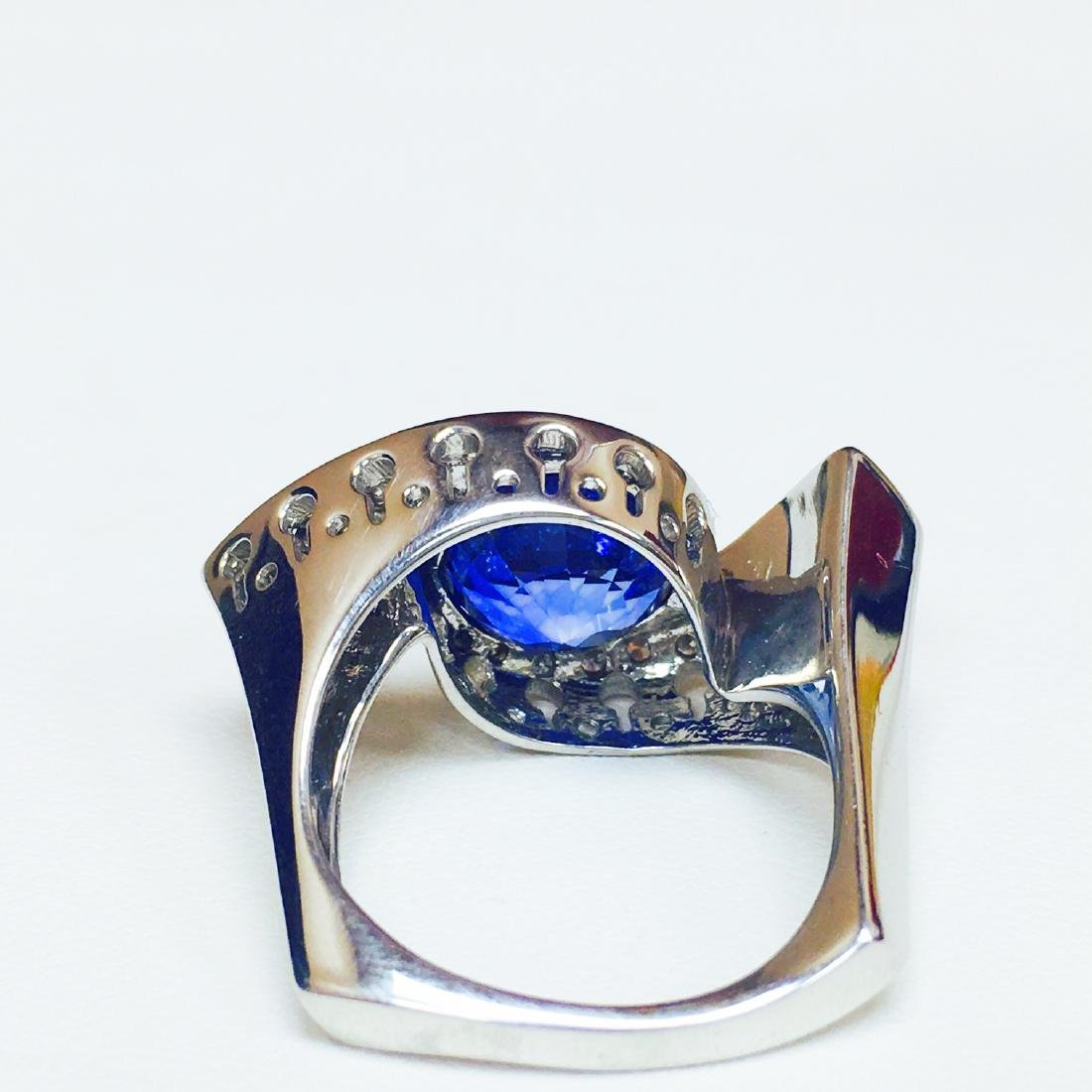 6.00 Carat Blue Sapphire & DIAMOND EVIL EYE STYLE RING - 4